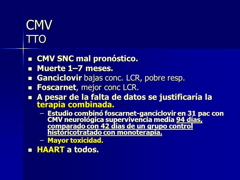 CMV TTO CMV SNC mal pronóstico. Muerte 1–7 meses.