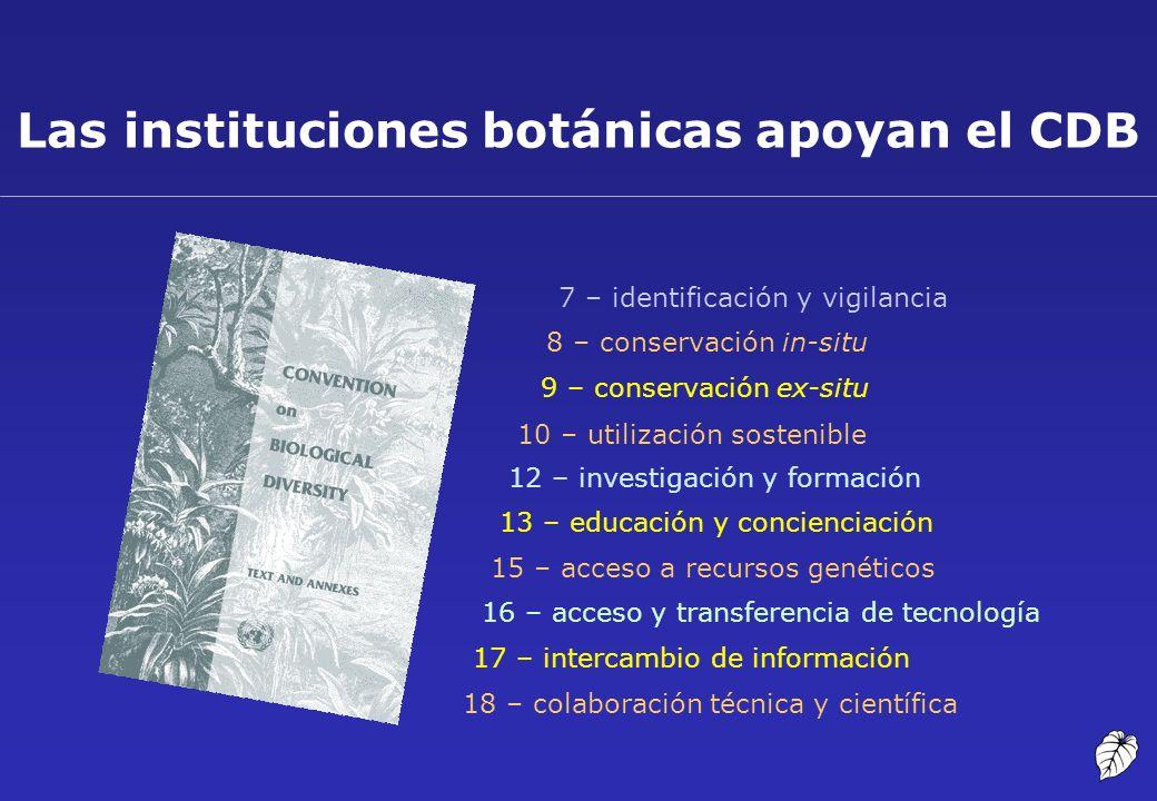 Las instituciones botánicas apoyan el CDB