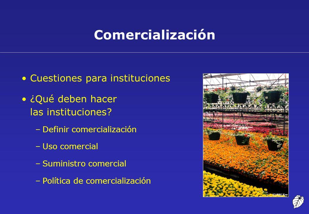 Comercialización Cuestiones para instituciones ¿Qué deben hacer