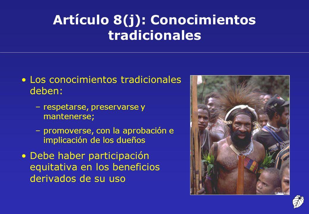 Artículo 8(j): Conocimientos tradicionales