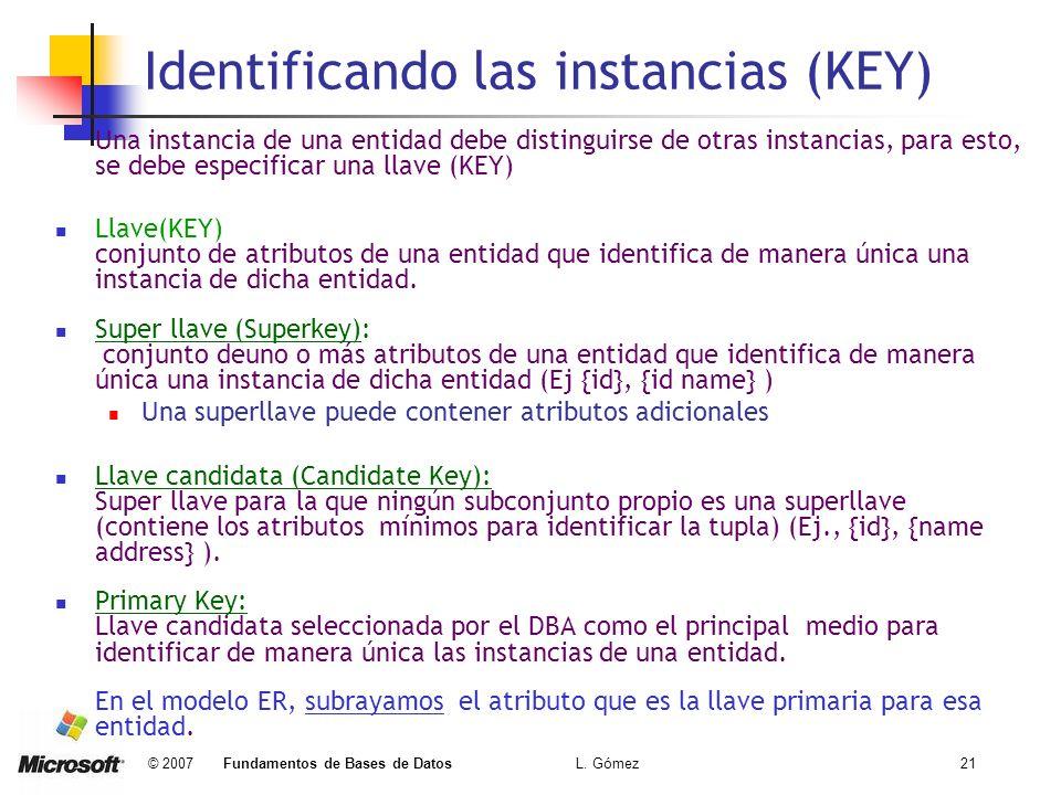 Identificando las instancias (KEY)