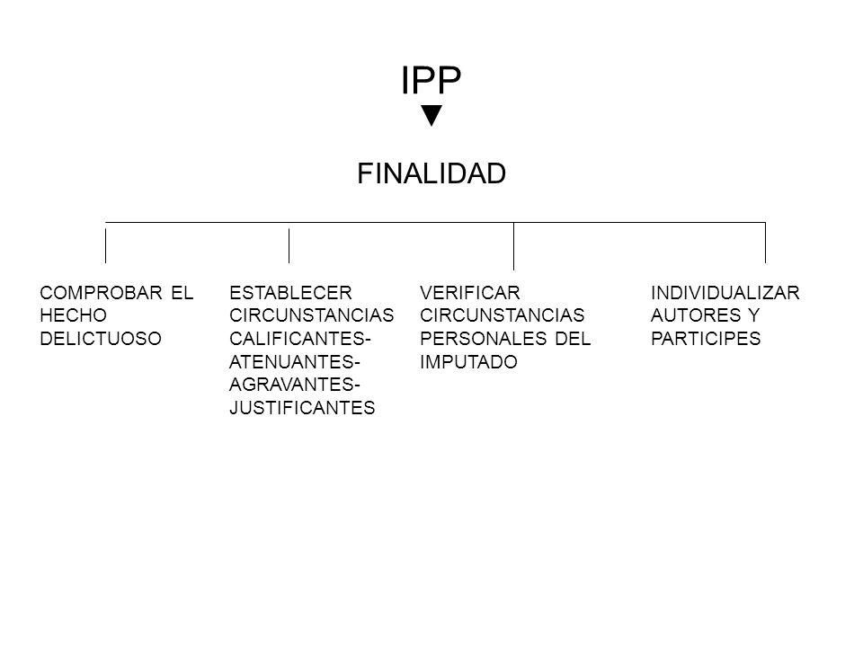 IPP FINALIDAD COMPROBAR EL HECHO DELICTUOSO