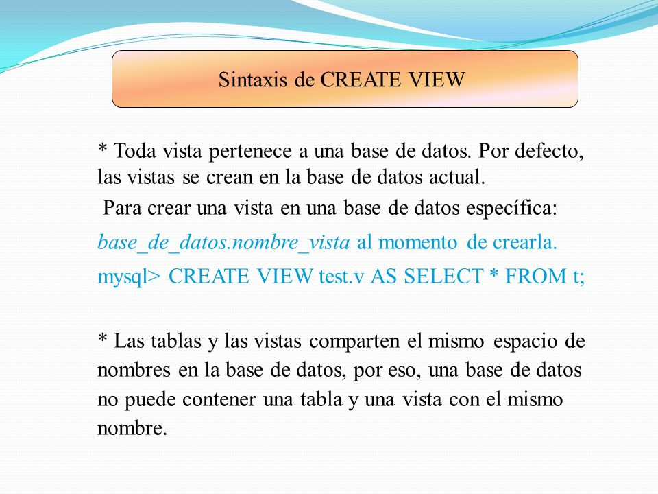 Sintaxis de CREATE VIEW
