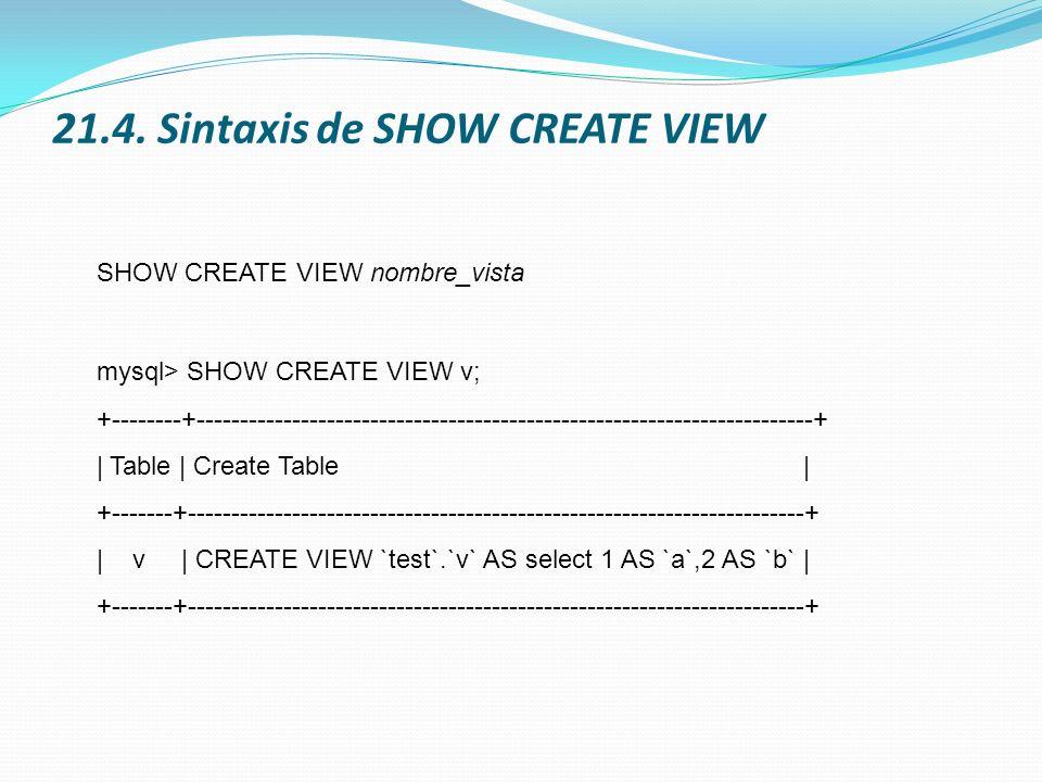 21.4. Sintaxis de SHOW CREATE VIEW