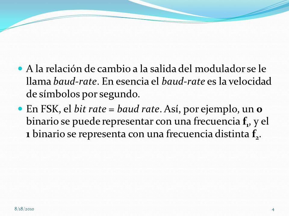 A la relación de cambio a la salida del modulador se le llama baud-rate. En esencia el baud-rate es la velocidad de símbolos por segundo.