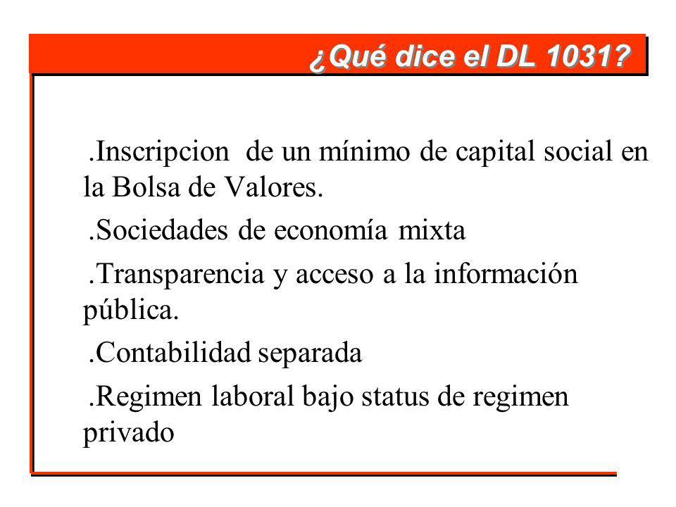 ¿Qué dice el DL 1031 .Inscripcion de un mínimo de capital social en la Bolsa de Valores. .Sociedades de economía mixta.