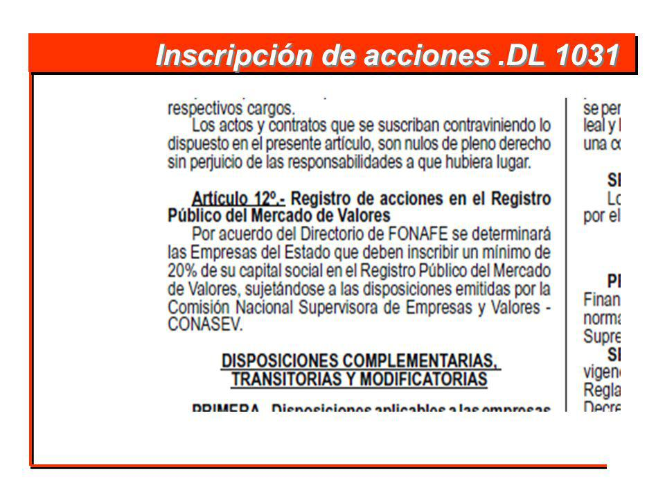 Inscripción de acciones .DL 1031
