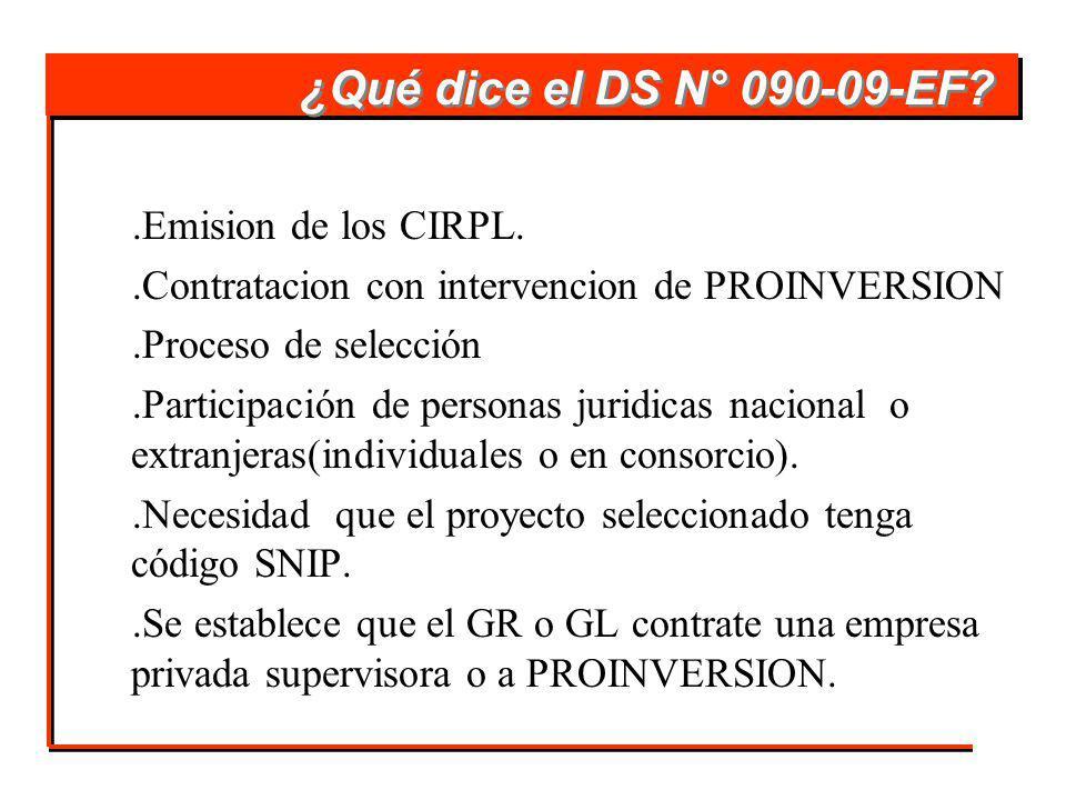 ¿Qué dice el DS N° 090-09-EF .Emision de los CIRPL.