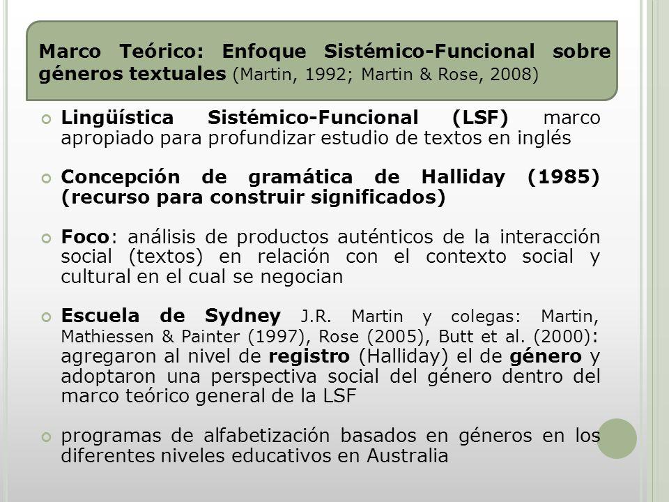 Marco Teórico: Enfoque Sistémico-Funcional sobre géneros textuales (Martin, 1992; Martin & Rose, 2008)