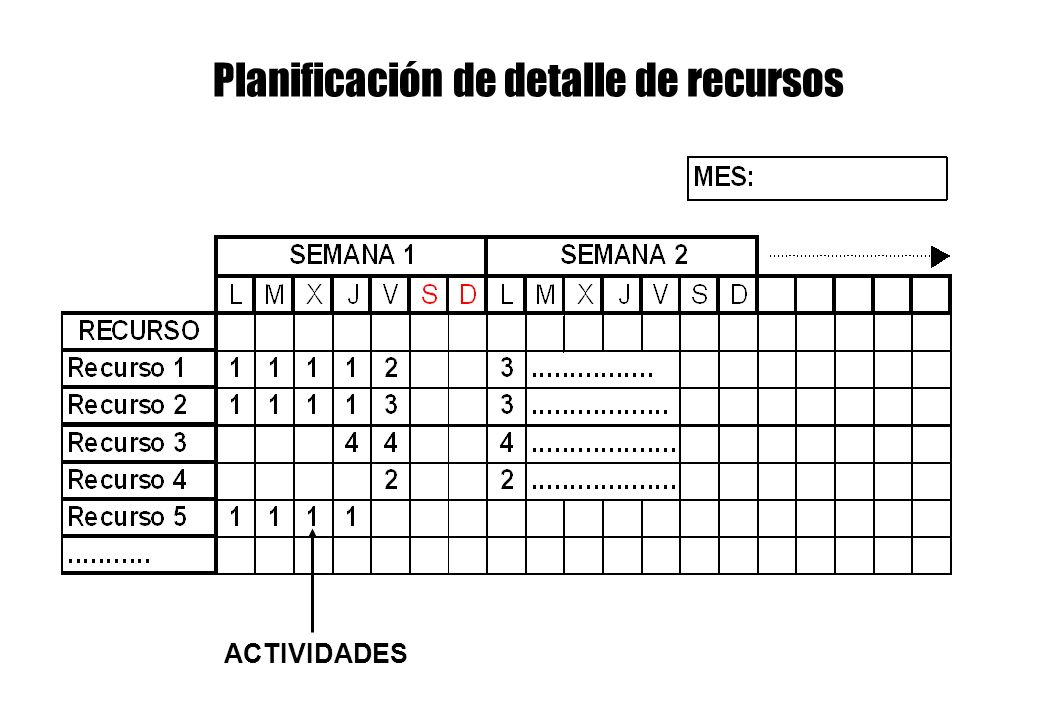 Planificación de detalle de recursos