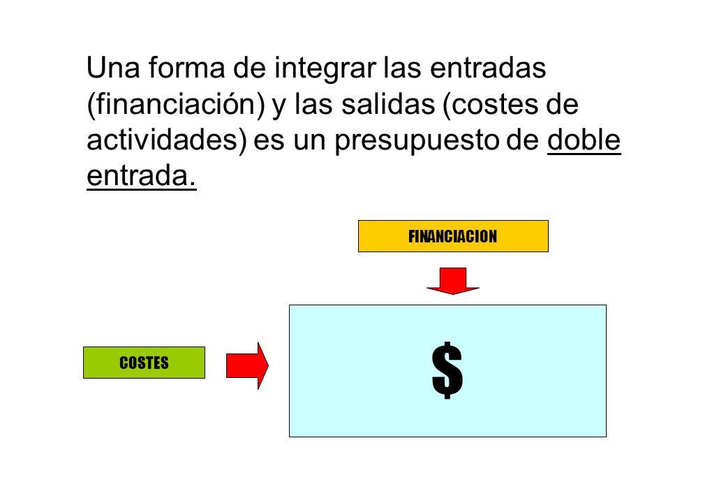 Una forma de integrar las entradas (financiación) y las salidas (costes de actividades) es un presupuesto de doble entrada.