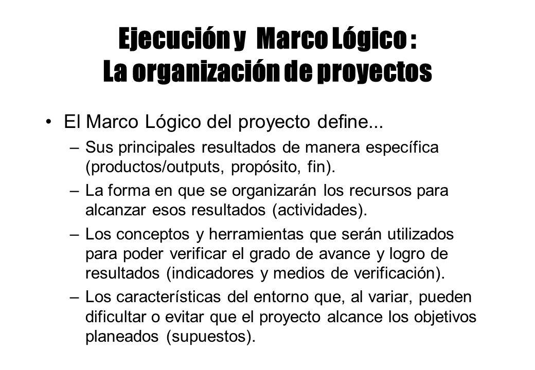 Ejecución y Marco Lógico : La organización de proyectos