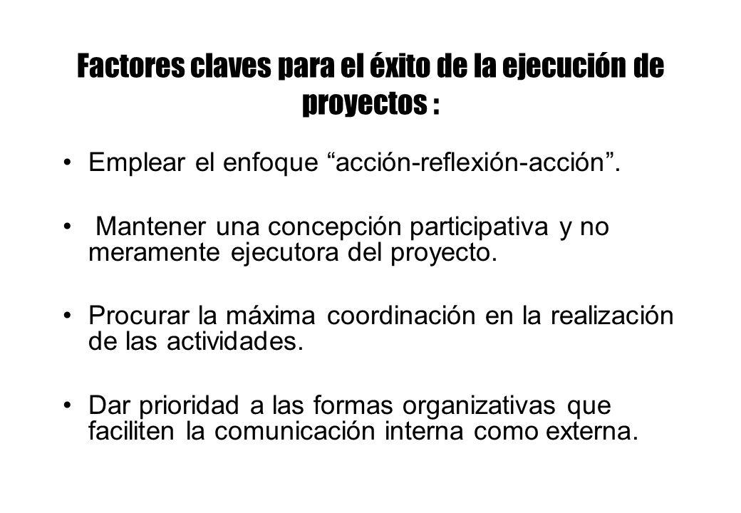 Factores claves para el éxito de la ejecución de proyectos :