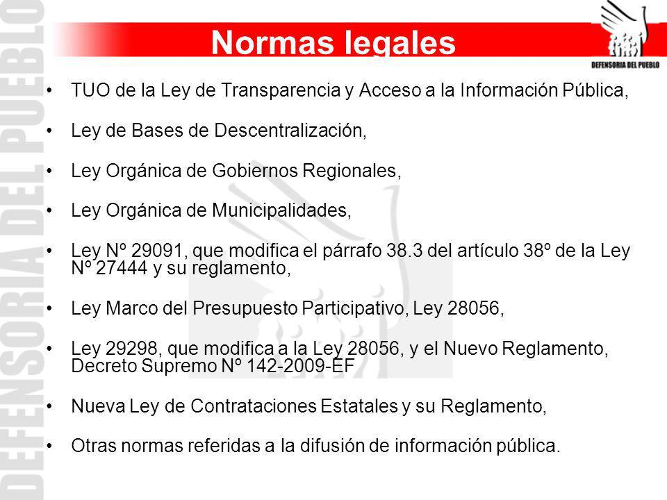 Normas legales TUO de la Ley de Transparencia y Acceso a la Información Pública, Ley de Bases de Descentralización,