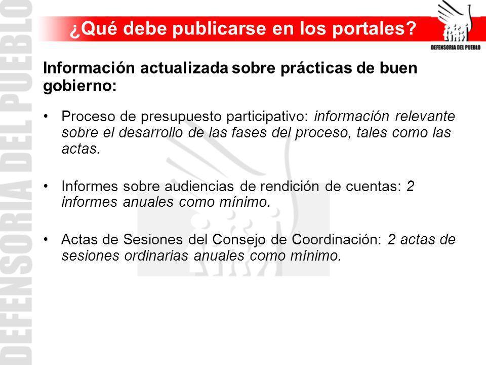 ¿Qué debe publicarse en los portales