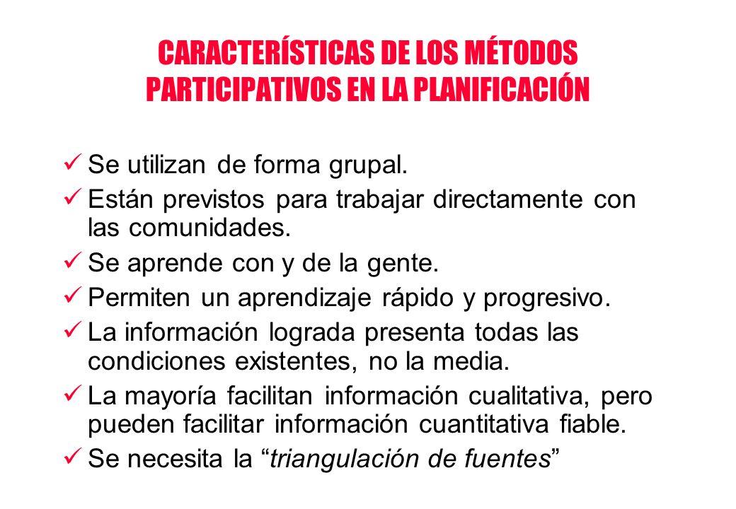 CARACTERÍSTICAS DE LOS MÉTODOS PARTICIPATIVOS EN LA PLANIFICACIÓN