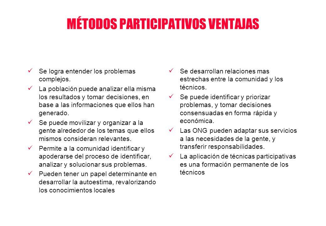 MÉTODOS PARTICIPATIVOS VENTAJAS