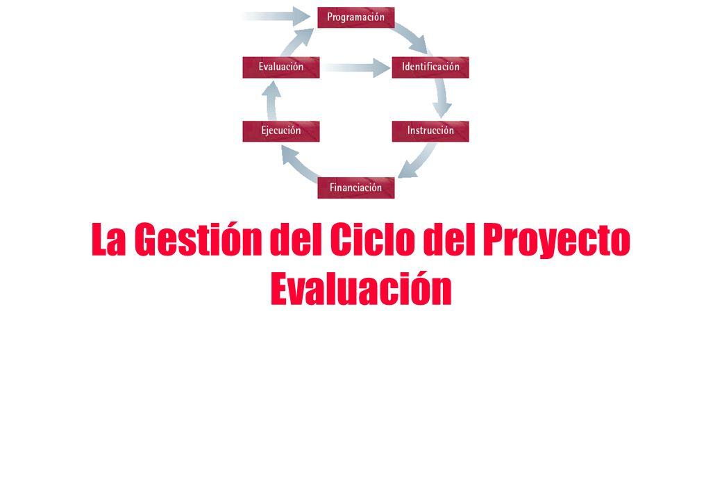 La Gestión del Ciclo del Proyecto Evaluación