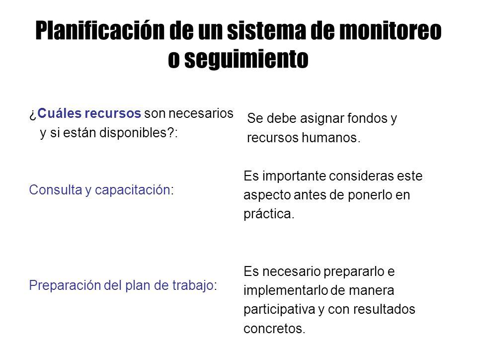 Planificación de un sistema de monitoreo o seguimiento