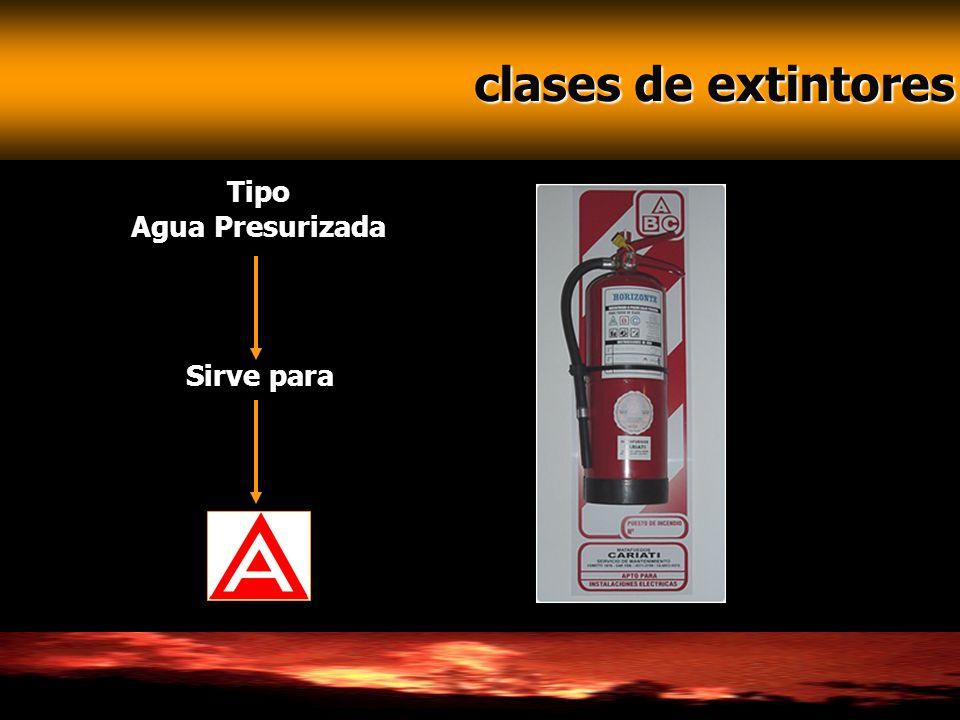 clases de extintores Tipo Agua Presurizada Sirve para