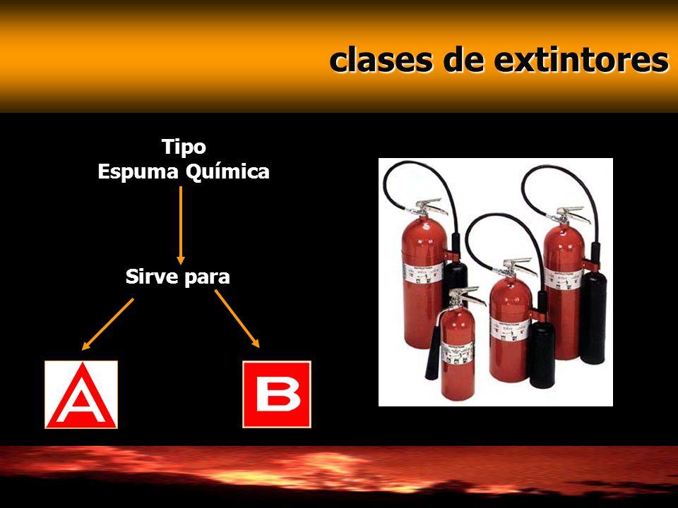 clases de extintores Tipo Espuma Química Sirve para