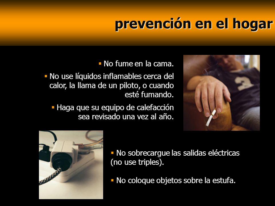 prevención en el hogar No fume en la cama.