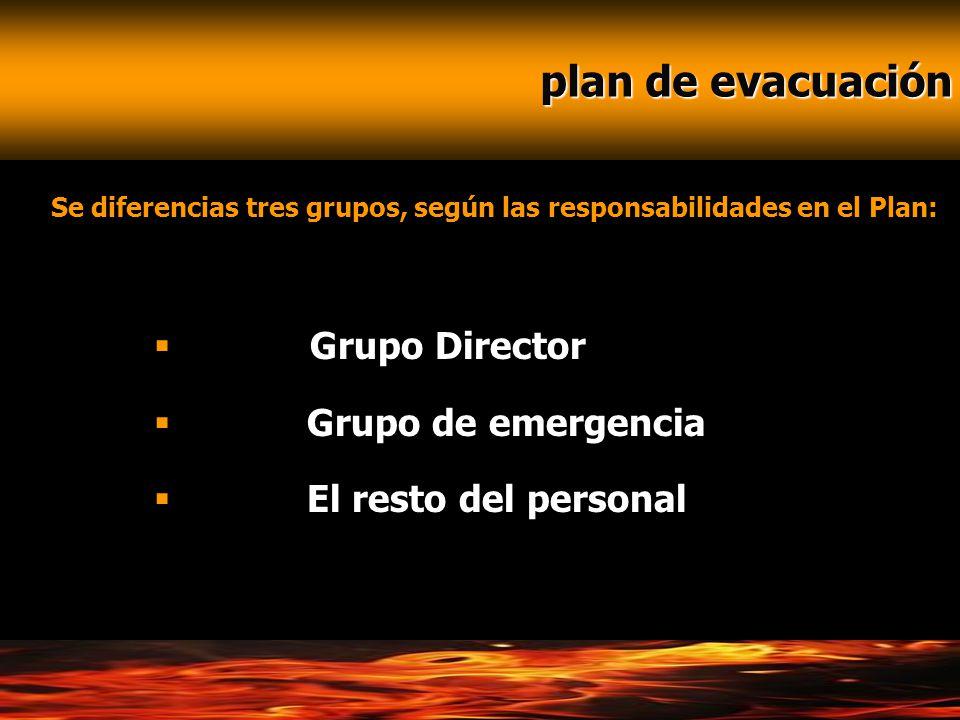 plan de evacuación Grupo Director Grupo de emergencia