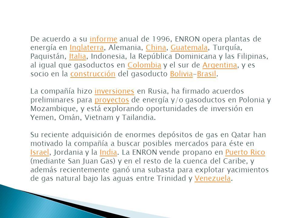 De acuerdo a su informe anual de 1996, ENRON opera plantas de energía en Inglaterra, Alemania, China, Guatemala, Turquía, Paquistán, Italia, Indonesia, la República Dominicana y las Filipinas, al igual que gasoductos en Colombia y el sur de Argentina, y es socio en la construcción del gasoducto Bolivia-Brasil.
