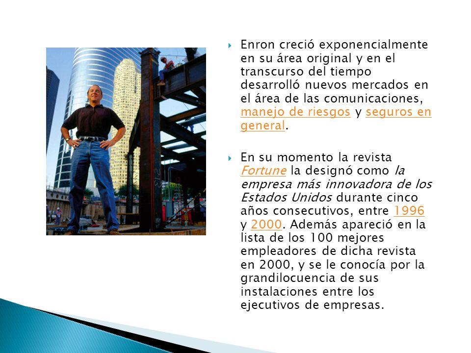 Enron creció exponencialmente en su área original y en el transcurso del tiempo desarrolló nuevos mercados en el área de las comunicaciones, manejo de riesgos y seguros en general.