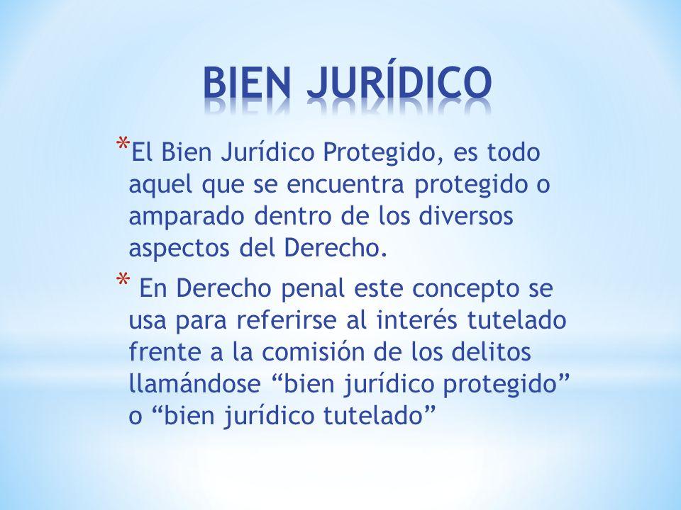 BIEN JURÍDICO El Bien Jurídico Protegido, es todo aquel que se encuentra protegido o amparado dentro de los diversos aspectos del Derecho.