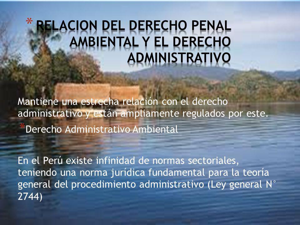 RELACION DEL DERECHO PENAL AMBIENTAL Y EL DERECHO ADMINISTRATIVO