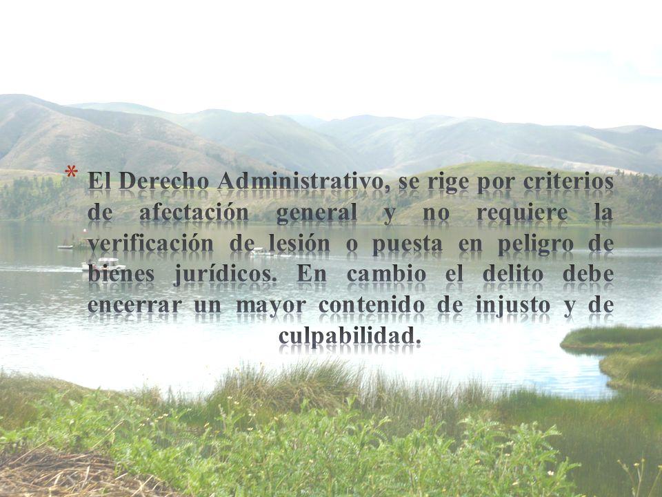 El Derecho Administrativo, se rige por criterios de afectación general y no requiere la verificación de lesión o puesta en peligro de bienes jurídicos.
