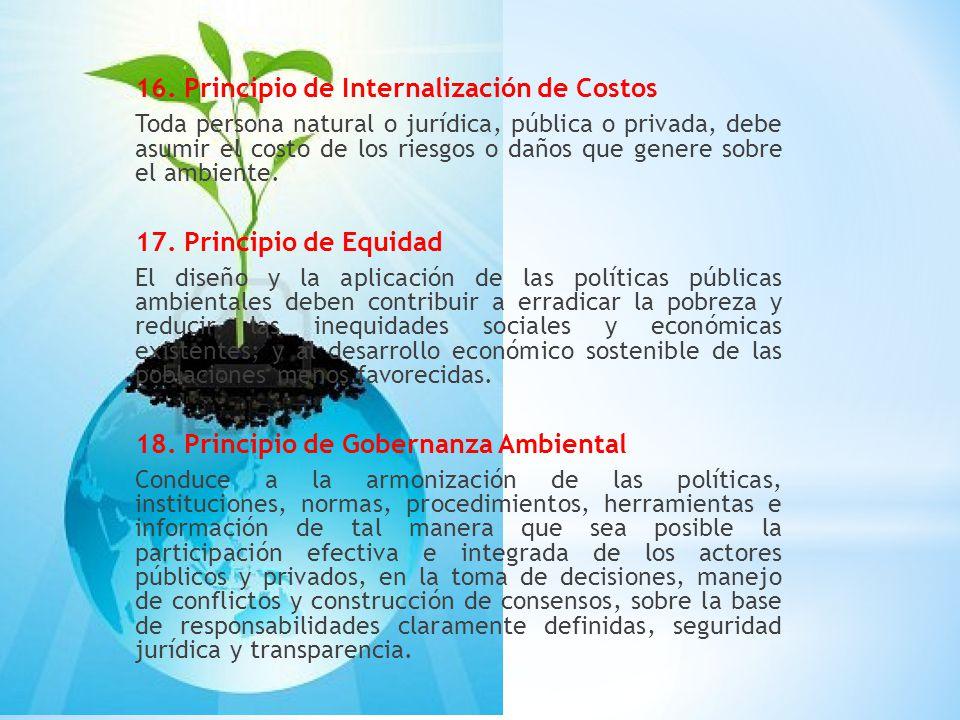 16. Principio de Internalización de Costos