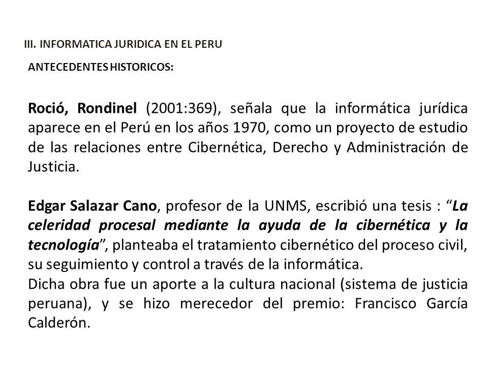 III. INFORMATICA JURIDICA EN EL PERU