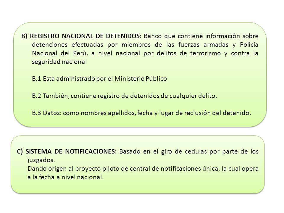 B) REGISTRO NACIONAL DE DETENIDOS: Banco que contiene información sobre detenciones efectuadas por miembros de las fuerzas armadas y Policía Nacional del Perú, a nivel nacional por delitos de terrorismo y contra la seguridad nacional