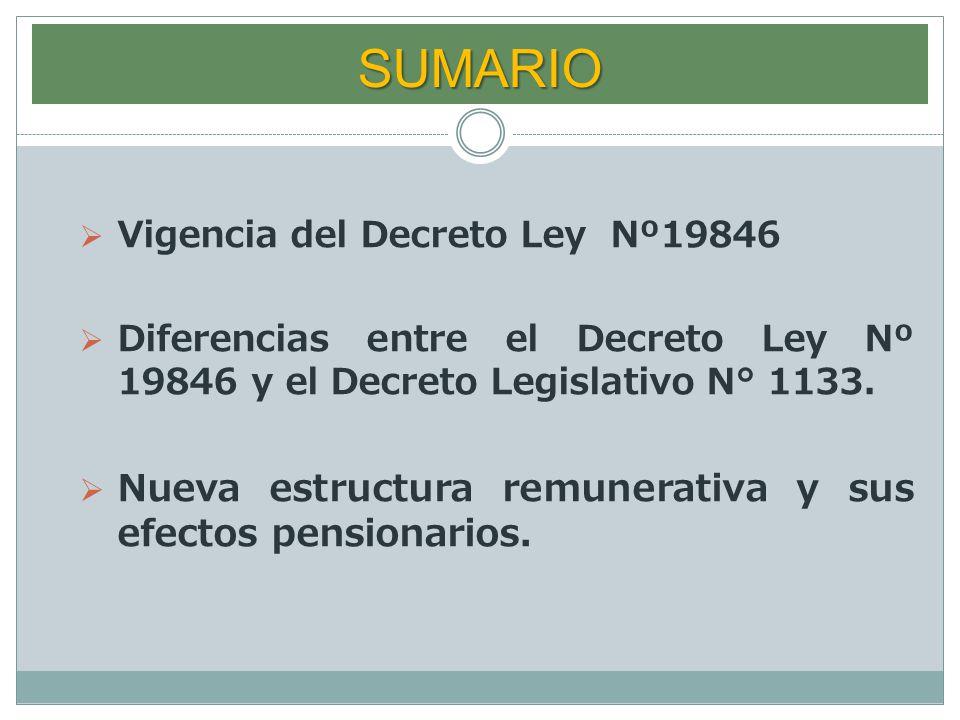 SUMARIO Nueva estructura remunerativa y sus efectos pensionarios.