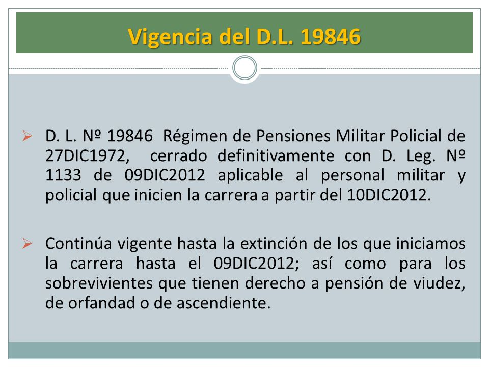 Vigencia del D.L. 19846