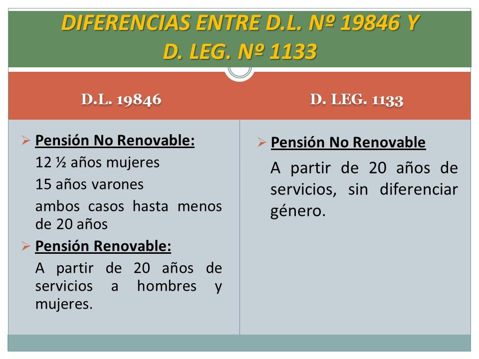 DIFERENCIAS ENTRE D.L. Nº 19846 Y D. LEG. Nº 1133