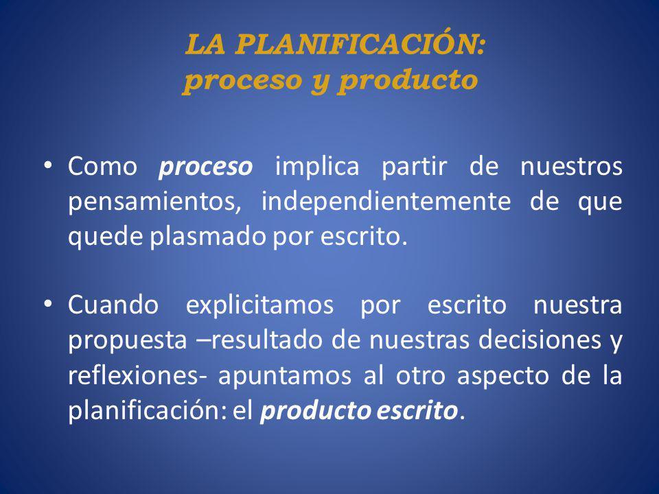 LA PLANIFICACIÓN: proceso y producto