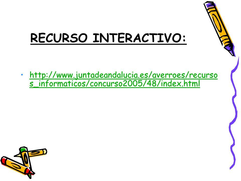 RECURSO INTERACTIVO: http://www.juntadeandalucia.es/averroes/recursos_informaticos/concurso2005/48/index.html.