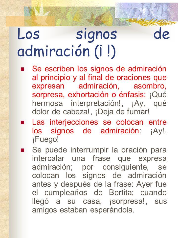 Los signos de admiración (¡ !)