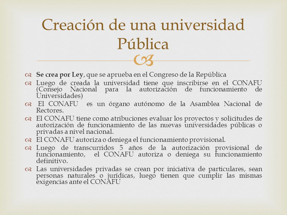 Creación de una universidad Pública