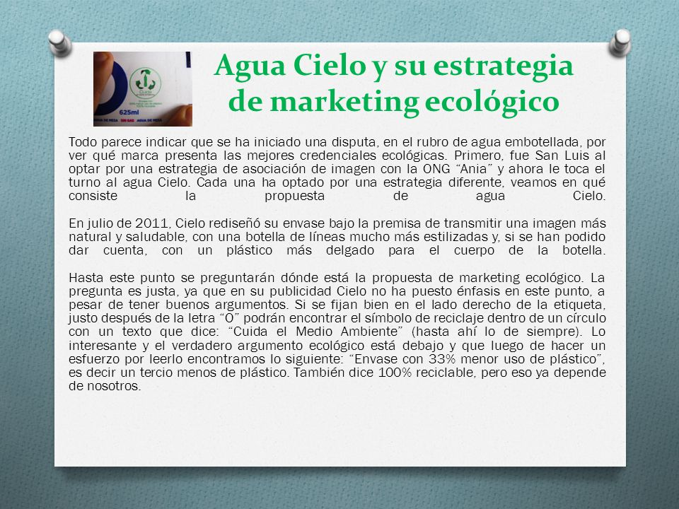 Agua Cielo y su estrategia de marketing ecológico