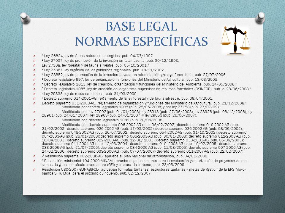 BASE LEGAL NORMAS ESPECÍFICAS