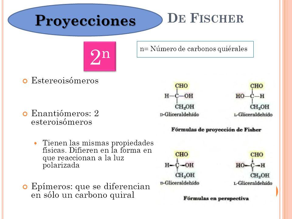 2n Proyecciones De Fischer Estereoisómeros