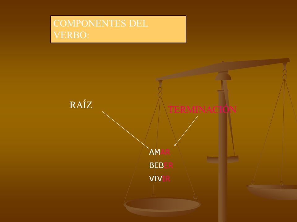 COMPONENTES DEL VERBO:
