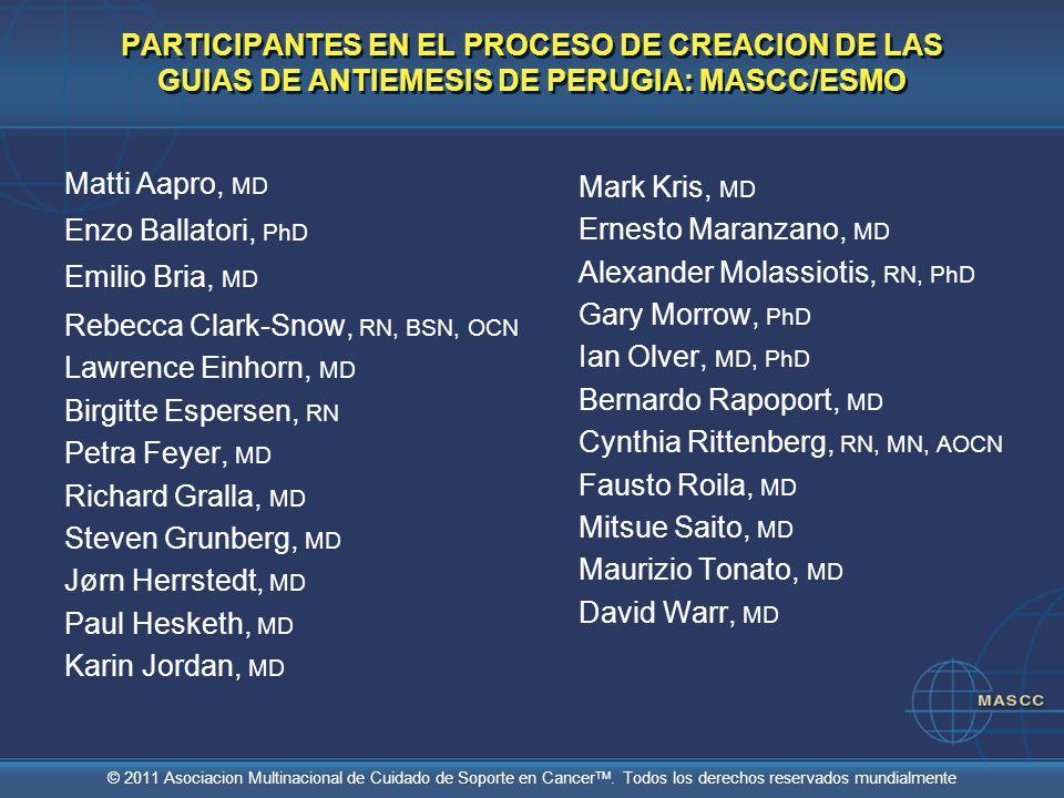 PARTICIPANTES EN EL PROCESO DE CREACION DE LAS GUIAS DE ANTIEMESIS DE PERUGIA: MASCC/ESMO