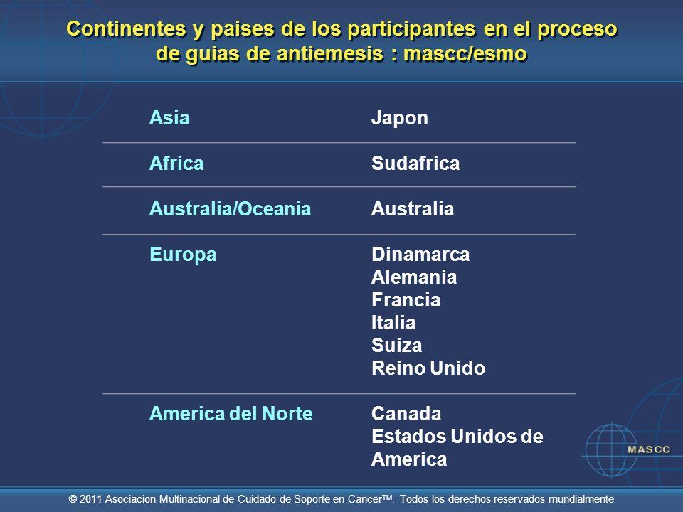Continentes y paises de los participantes en el proceso de guias de antiemesis : mascc/esmo