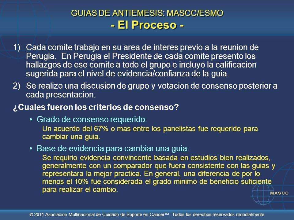 GUIAS DE ANTIEMESIS: MASCC/ESMO - El Proceso -