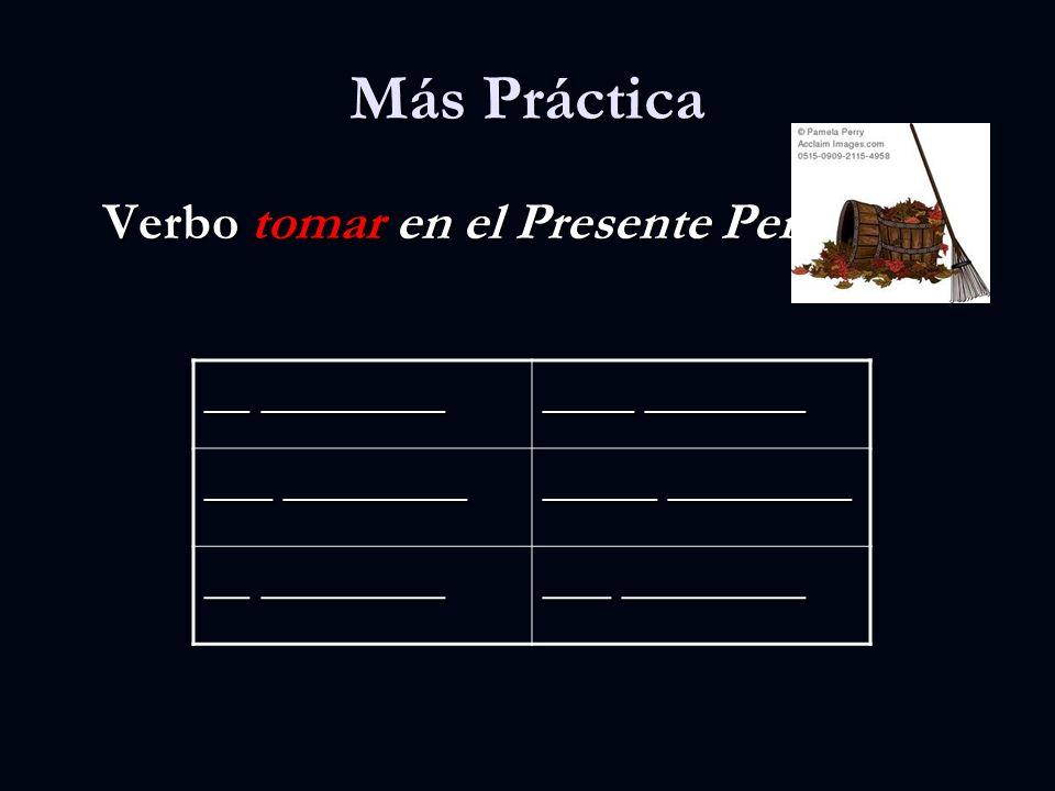 Más Práctica Verbo tomar en el Presente Perfecto __ ________